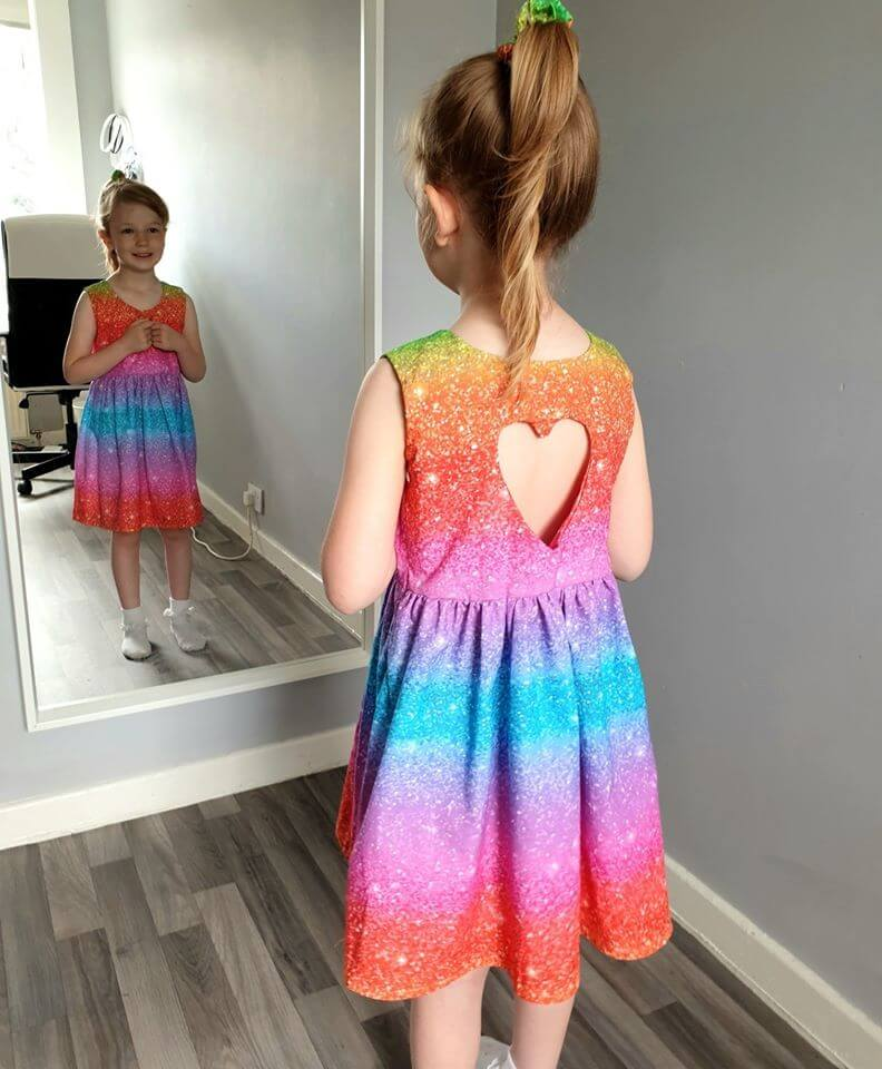 Rainbow Dress with Cut Out Heart Shape